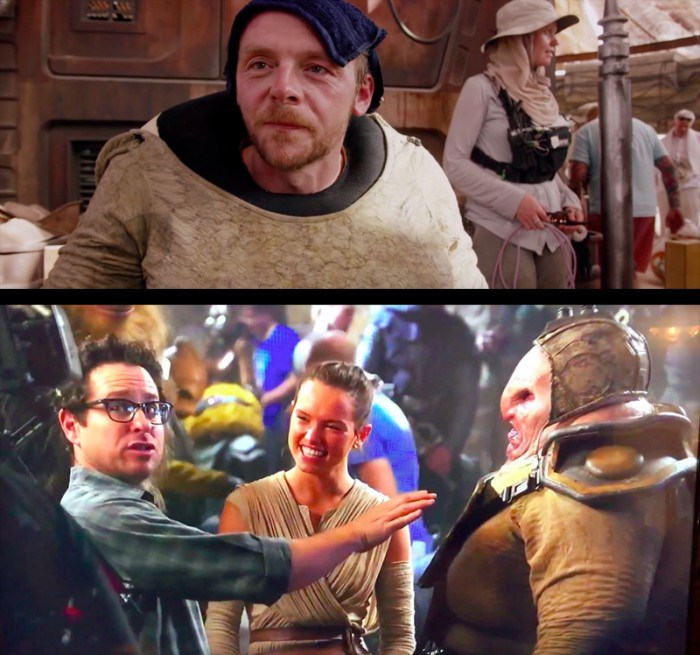 Simon Pegg and JJ Abrams and Daisy Ridley in Star Wars The Force Awakens