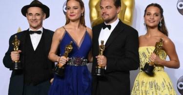 Leonardo Dicaprio Brie Larson Alicia Vikander Mark Rylance Academy Awards 2016 Winners