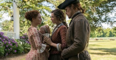 Sophie Skelton Caitriona Balfe Sam Heughan Outlander Man of Worth