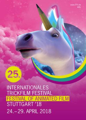 25. Internationales Trickfilm Festival in Stuttgart - Poster | einhorn vor rosa Hintergrund
