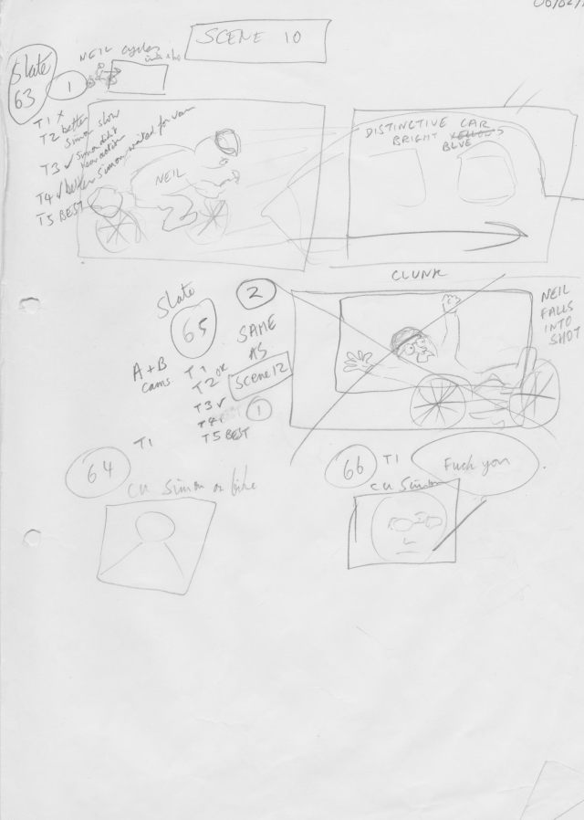 'Absolutely Anything' storyboard by Terry Jones - Neil gets knocked of his bike