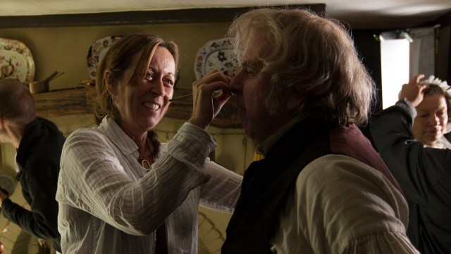 Christine Blundell working with Tim Spall for 'Mr. Turner'