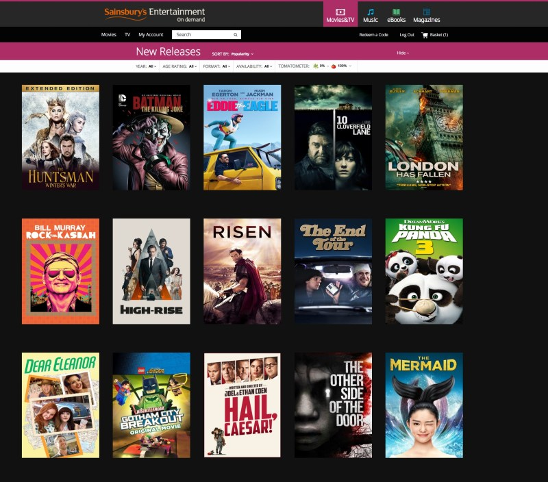 Sainsbury's entertainment moviies
