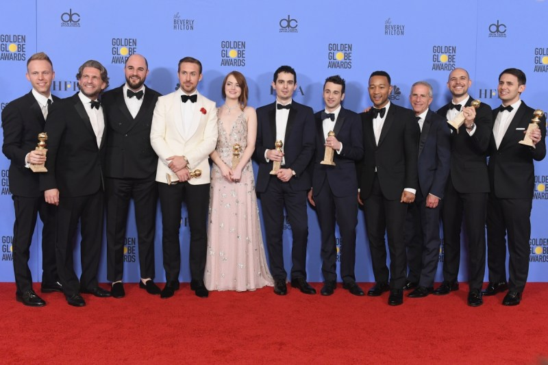 """La la land"" Cast and Crew winning Golden Globe"