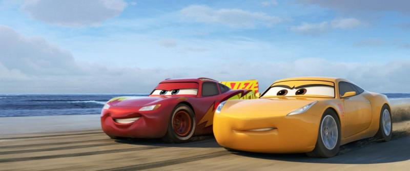 Owen Wilson as Lightning McQueen and Cristela Alonzo as Cruz Ramirez in Cars 3