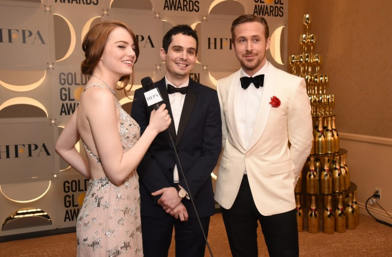 Emma Stone, Damien Chazelle and Ryan Gosling during the 74th Annual Golden Globe Awards