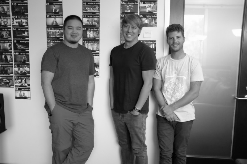 La La Land editing crew – [L to R] 1st Assistant Editor John To, Editor Tom Cross and Post PA Josh Stein