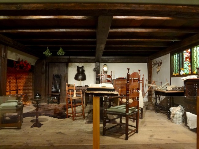 A room of early settler families in New England