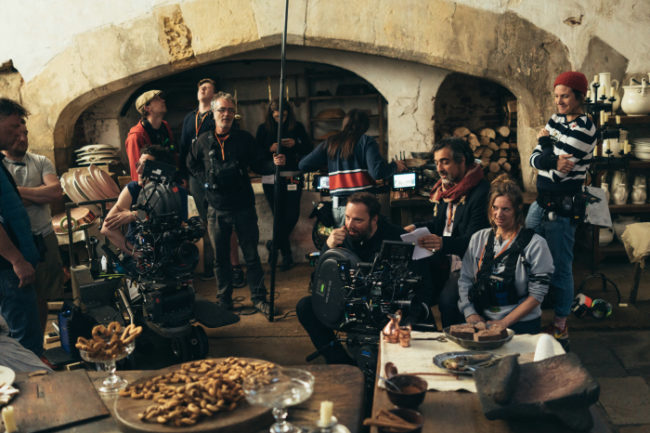 "The film crew of ""The Favourite"" in the Tudor Kitchens at Hampton Court Palace. Photo: © 2018 Twentieth Century Fox"