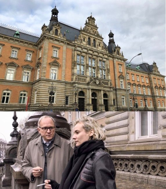 "The Criminal Justice Building in Hamburg as a film location in ""In the Fade"". Photo 1: © FilmFanTravel.com, Photo 2: © Warner Brothers/Gordon Timpen, SMPSP"