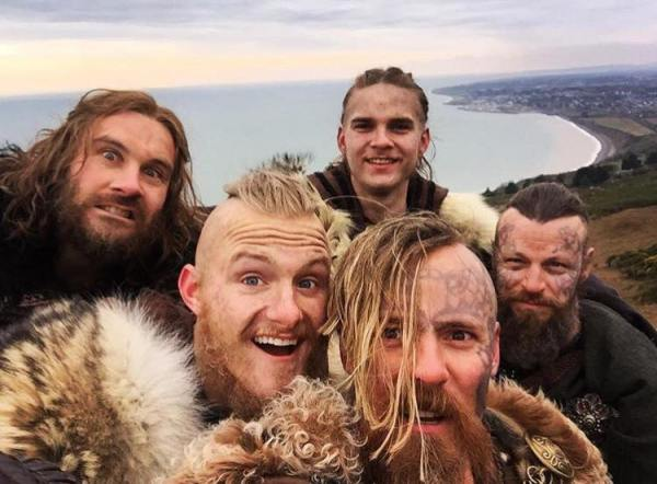 Grr... we are the scary Vikings (or not...)! The international cast members (Swedish, Danish, Finnish, American and Irish) are having fun at work! Photo: Vikings Facebook Page