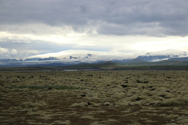 Lava landscape and volcanoes on the South Coast of Iceland