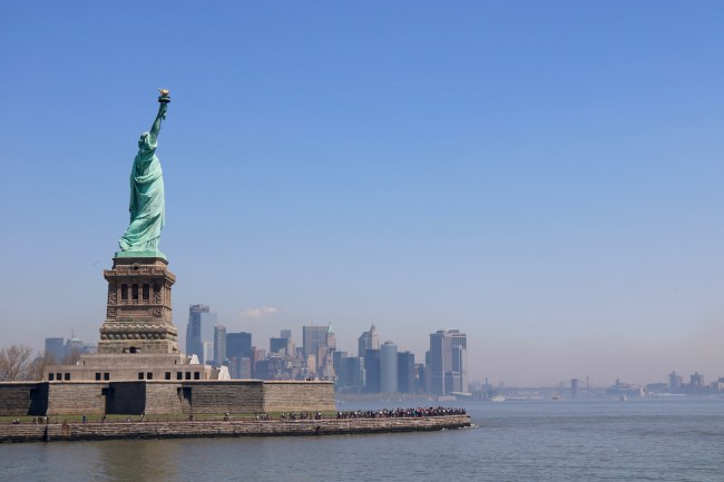 New York City's skyline and its most famous symbol – The Statue of Liberty