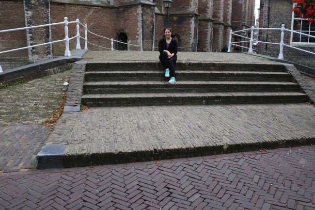 Me on the stone bridge in Delft