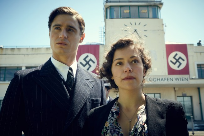 As a young woman, Maria Altmann is portrayed by Canadian actress Tatiana Maslany whileBritish actorMax Ironsportrays her young husband Fritz. Photo: The Weinstein Company