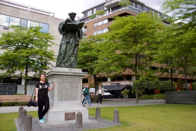 With Erasmus of Rotterdam. Photo: © Sonja Irani / FilmFanTravel.com