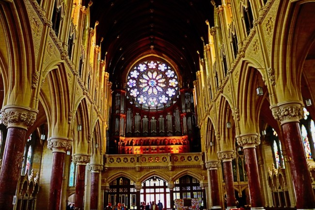 The cathedral from the inside. St Colman's Cathedral in Cobh, Ireland. Photo: Sonja Irani / FilmFanTravel.com