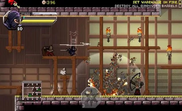Screenshot of a pixelated video game. Set in Feudal Japan, the background features the interior of a Japanese house, in the forefront are pixelated ninjas fighting with bows and blades.