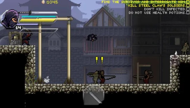A screenshot of a pixelated video game. Set in a darkened village in feudal Japan, a ninja jumps over two unsuspecting zombies.