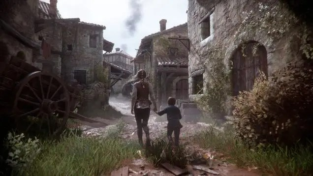 A teenage girl holds the hand of her younger brother. They are dressed in light medieval garb, walking through a desolate medieval town.