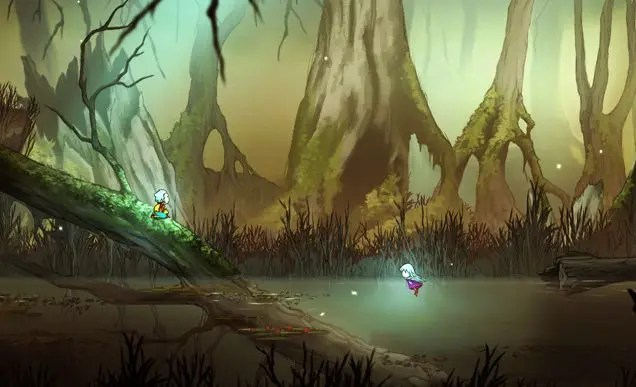 Greak and Adara travelling through marshland. Adara is swimming while Greak waits for her on top of a fallen tree.