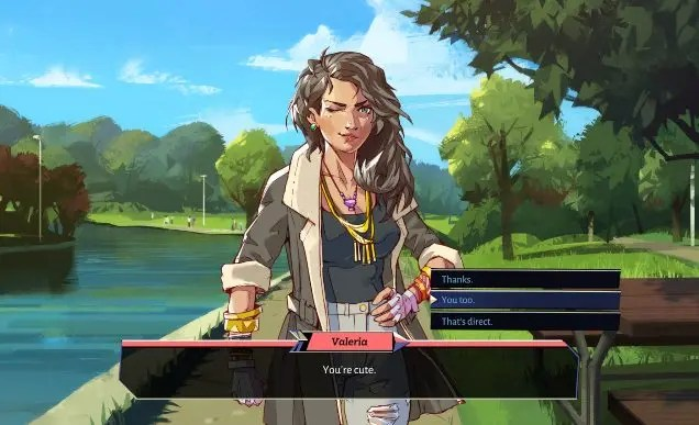 """A screenshot from Boyfriend Dungeon: a woman wearing a dark jacket with lots of gold necklaces and bracelets winks towards the camera. A dialogue box reads """"You're cute"""". Dialogue options at the side read """"Thanks"""", """"You too"""" and """"That's direct""""."""