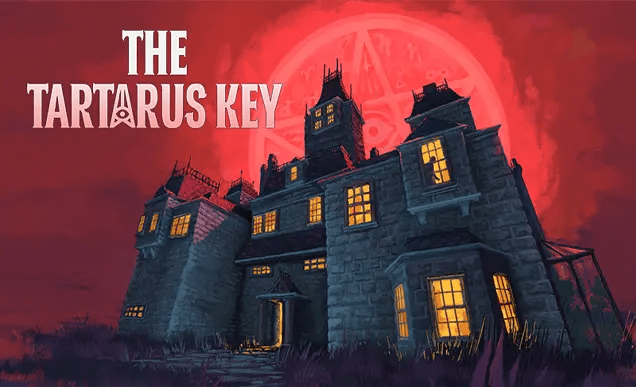 The cover image for the game The Tartarus Key, featuring a mansion with lighted windows set against a red sky with a pentacle star behind the mansion.