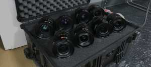A picture of 8 Leica Master Prime lenses in a case. Picture taken from past film rentals.