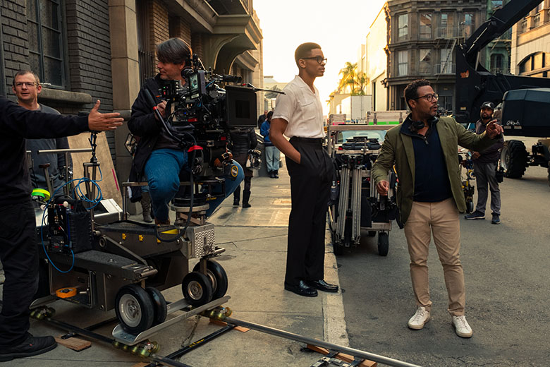 NNAMDI ASOMUGHA and DIRECTOR EUGENE ASHE on the set of SYLVIE'S LOVE