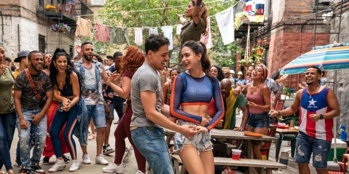 Another Ramos as Usnavi and Melissa Barerra as Vanessa in Lin-Manuel Miranda's 'In the Heights' Directed by John M. Chu on In Theaters and on HBO Max