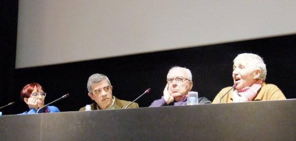 """Maruja Torres, Román Gubern i Anna Maria Moix a la taula rodona d'inici del cicle """"Imatges per recordar en Terenci"""", celebrada el 2 d'abril a la Filmoteca de Catalunya"""
