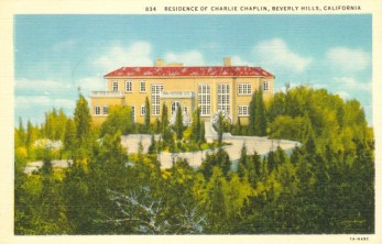 Residence of Charlie Chaplin (1889-1977). Postcard: Western Publishing and Novelty Co., Los Angeles (from the archive of Leo Verswijver)