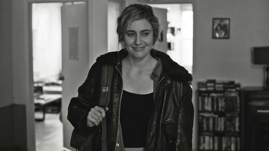 "The Most Important Movie In The World: Frances Ha ""Greta Gerwig in a leather jacket holding a bag"""