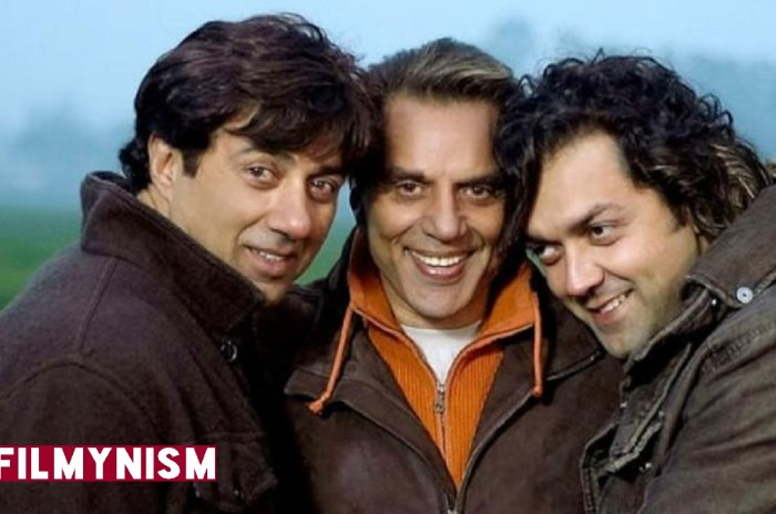 Sunny Deol and Bobby Deol with Dharmendra-Filmynism