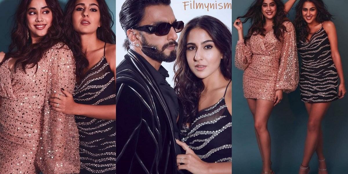 Janhvi Kapoor and Sara Ali Khan with Ranveer Singh-Filmynism