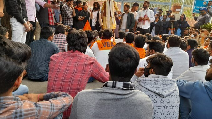 ABVP protests for reopening of DU campus