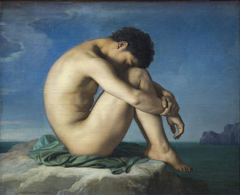 """Hippolyte Flandrin, """"Jovem nu sentado"""" (1855)"""