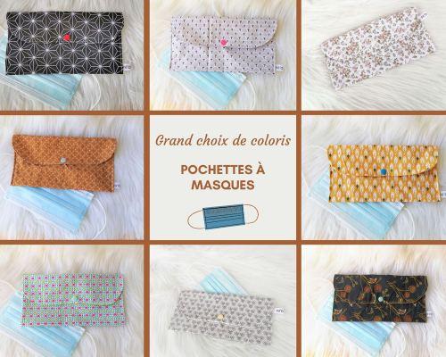 Grand choix de coloris pour ces pochettes en tissu pour masques