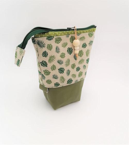 Trousse coulissante Pot à Crayons Feuillage vert