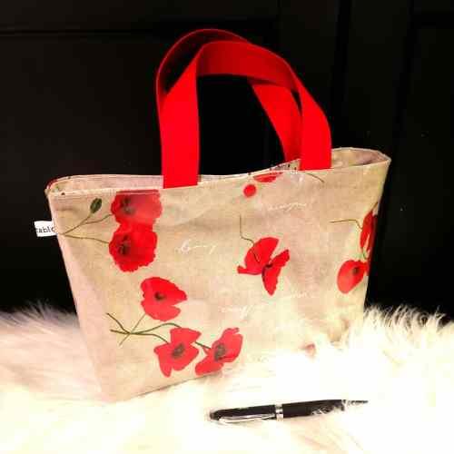 Petit sac cabas coquelicots anses rouges
