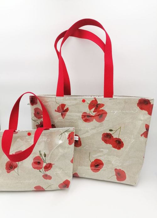 Petit sac cabas cristal femme coquelicots