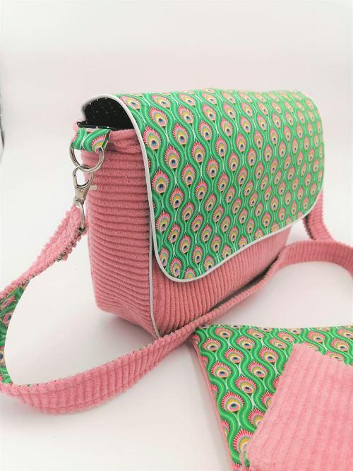 Sac besace Paon Vert et rose vue de profil