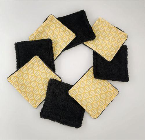 Carrés de coton éponge de bambou noire Zéro Déchet Fil'Otablo