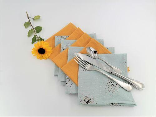 Serviette de table coton lavé froissé Fil'Otablo bleu et moutarde