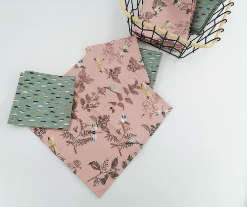 Mouchoir en tissu coton biologique Fil'Otablo Fait main libellules vieux rose ou vert de gris