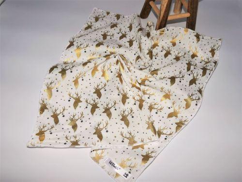 Furoshiki Fil'Otablo Emballage cadeau en tissu Rennes dorés