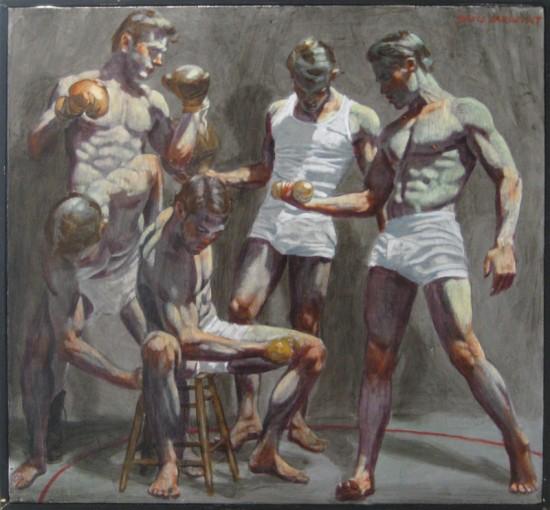 Mark Beard, Five Gymnasts, oil on canvas