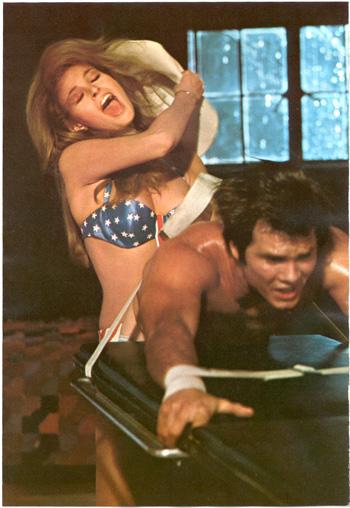 Myra Breckinridge (Raquel Welch) rides Rusty