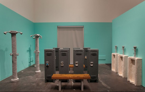 Nathan Vincent, Locker Room, 2011, Lion Brand yarn over Styrofoam and wood substructure, Courtesy of the artist