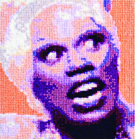 Aubrey Longley-Cook, RuPaul Cross Stitch Animation Workshop Front View, 2013, Video animation, Courtesy of the artist (all images via Leslie-Lohman Museum of Gay and Lesbian Art)